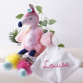 "Peluche Flamant Rose ""TROPI'COOL"" et son mouchoir brodé"