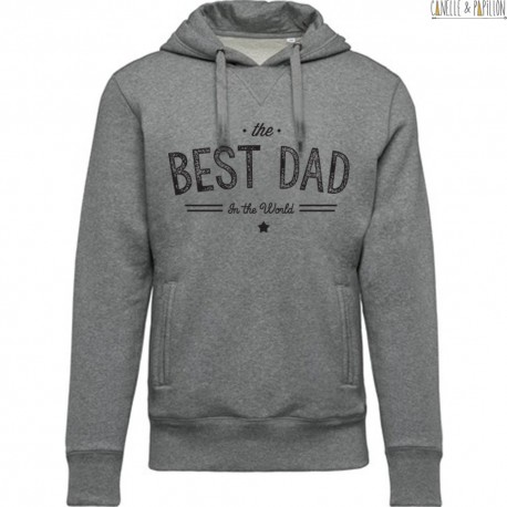"Sweat BIO à capuche ""The Best Dad in the Wordl"""