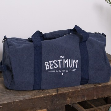 "Sac week end en toile vintage ""The Best Mum in The World"""
