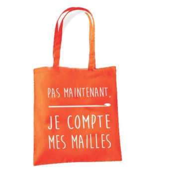 "Tote Bag ""Pas maintenant, je Compte mes mailles"" (Version Crochet)"